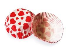 Muffinkapseln Gebäckkapseln rote Herzen Ø 50 x 30 mm, 40 Stk.