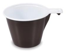 Einweg-Kaffeetasse 170 ml mit Griff, braun-weiß, 60 Stk.