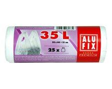 ALUFIX Müllsäcke mit Griff 35 L , HDPE 53x60+21 cm 11my, weiß, 25 Stk.