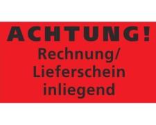 Hinweisetiketten Warnetiketten rot RECHNUNG /LS. INLIEGEND, 145x76mm, 1000 Stk.