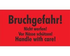 Hinweisetiketten rot BRUCHGEFAHR/NICHT WERFEN/NÄSSE SCHÜTZEN 145x76mm, 1000 Stk.