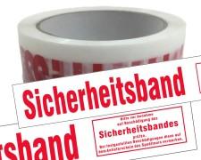 Packband Klebeband low noise 50mmx66m weiß-transparent Aufdruck SICHERHEITSBAND