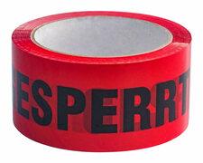 Packband Klebeband BOPP low noise 50mmx66m, rot mit Aufdruck GESPERRT