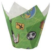 Muffin-Tulip-Wraps, Fußball bunt, 160x160 mm, 24 Stk.