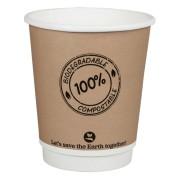 BIO Doppelwandbecher CoffeeToGo PLA bis 100°C  | 200ml, Ø8cm, 25 Stk.
