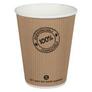 BIO Thermo-Riffelbecher CoffeeToGo PLA bis 100°C  | 300ml, Ø9cm, 25 Stk.