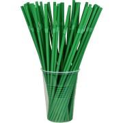 BIO Flexhalme Trinkhalme aus PLA, flexibel, dunkelgrün, Ø5mm, 24cm,  50 Stk.