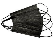 Mundschutzmasken 3-lagig mit Nasenbügel und Ohrschlaufen schwarz,  5 Stk.