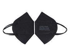 Mundschutzmasken FFP2 einzeln verpackt mit Nasenbügel schwarz, 10 Stk.