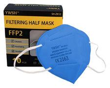 Mundschutzmasken FFP2 einzeln verpackt mit Nasenbügel hellblau, 10 Stk.