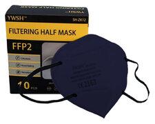 Mundschutzmasken FFP2 einzeln verpackt mit Nasenbügel dunkelblau, 10 Stk.