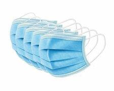 Mundschutzmaske 3-lagig mit Nasenbügel und Ohrschlaufen blau,  5 Stk.