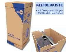Kleiderkiste mit Stange für Umzug und Lagerung, 1350x600x515mm