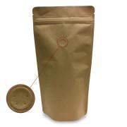 Standbodenbeutel Kraftpapier braun mit Aromaschutzventil 140x270x80mm, 500 Stk.