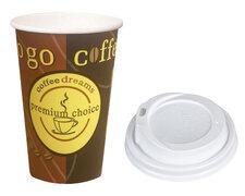 Kaffeebecher Coffee ToGo COFFEE DREAMS mit Deckel weiß 12oz. 300 ml, 50 Stk.