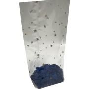 Kreuzbodenbeutel OPP  95 x 160mm transparent mit Sternenmotiv, 30my, 1000 Stk.
