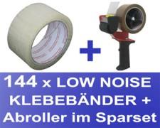 144 Stk. Packband Klebeband OPP-909NN 50mmx66m, Low Noise transparent + Abroller
