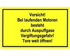 Gebotsschild gelb Vorsicht bei laufenden Motor - Auspuffgase Vergiftungsgefahr