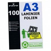 PAVO Laminierfolien A3, 303 x 426mm, 2x  75/80 mic, Hochglanz, 100 Stk.