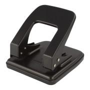 PAVO Premium Bürolocher mit Anschlagschiene für 35 Blatt Metallgehäuse, schwarz