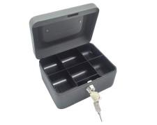 Geldkassette aus robustem Stahl mit herausnehmbaren Münzfächern 150 mm, schwarz