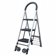 Sackkarre mit 3 stufiger Leiter, aus ALU, platzsparend klappbar, schwarz grau