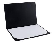 PAVO Premium Aufklappbare Schreibtischunterlage 50 x 35 cm, Kunstleder schwarz
