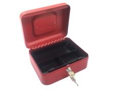Geldkassette aus robustem Stahl mit herausnehmbaren Münzfächern 200 mm,  rot