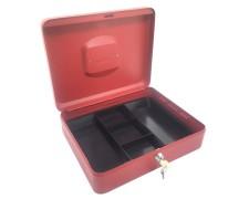 Geldkassette aus robustem Stahl mit herausnehmbaren Münzfächern 300 mm, rot