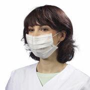 Mundschutz aus 3-lagigem Vlies 9 cm x 17,5 cm mit Nasenbügel, weiß, 50 Stk.