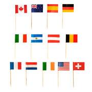 Flaggenpicker Fahnenpicker Deko-Picker Länder Nationen, 100 Stk.
