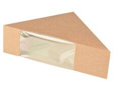 Bio-Sandwichboxen Pappe mit Sichtfenster aus PLA 123x123x52mm braun, 50 Stk.