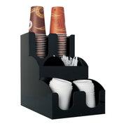 Spender-System für Coffee ToGo Becher Deckel Rührstäbchen und Zubehör schwarz