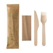 Holzbesteck Set Messer Gabel Serviette einzeln verpackt in Papierbeutel, 50 Stk.