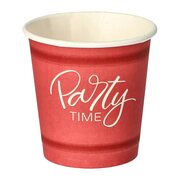 Pappbecher 5 cl rot Party Time mit Biokunststoff PLA beschichtet, 50 Stk.