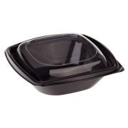 BIO Salatschalen mit Deckel aus Bio-Kunststoff (PLA) schwarz 720ml 50 Stk.