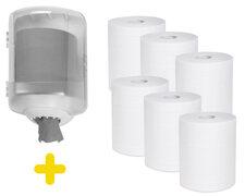Handtuchspender transparent Set Papierrollen mit Innenabwicklung inkl. 6 Rollen