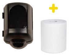 Handtuchspender schwarz Set für Papierrollen mit Innenabwicklung inkl. 1 Rolle