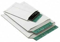 Vollpappe-Versandtasche PP V02.01, 167x240x -30mm, mit SK-Verschluss, A5, weiß
