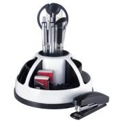 PAVO rotierender Schreibtischorganizer, inkl. 9-teiligem Zubehör,schwarz/weiß
