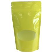 Standbodenbeutel PET gelb glänzend, mit Fenster, 130x225x70mm, 500ml, 500 Stk.