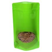 Standbodenbeutel PET hellgrün glänzend, mit Fenster, 130x225x70mm, 500 Stk.