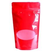 Standbodenbeutel PET rot glänzend, mit Fenster, 180x290x90mm, 1000 ml , 500 Stk.