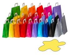 Papiertragetaschen Papiertaschen Flachhenkel 18x8x22cm gelb, 70gr. 50 Stk.
