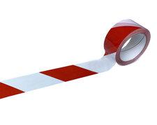 1-PACK Signalband Markierungsband Warnklebeband rot / weiss 50mm x 66 Meter