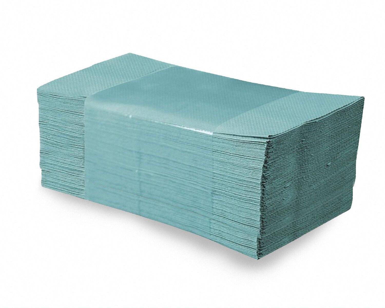 Falthandtücher Papierhandtuch 25x23cm 1-lagig grün geprägt Zick Zack, 5000 Stk.