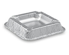 Alu Aschenbecher aus kräftigem Aluminium, eckig, 12,6 x 12,6 x 2,2 cm, 100 Stk.