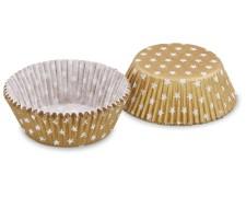 Muffinkapseln Gebäckkapseln Gold mit weißen Sternen Ø 50 x 30 mm, 40 Stk.