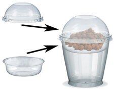 Feinkostbecher für Salat, Müsli, Joghurt mit Einsatz + Deckel 250 ml, 100 Stk