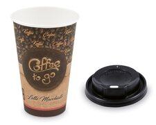 Kaffeebecher XL Latte Macchiato mit Trinkdeckel schwarz 400 ml 510 ml 100 Stk.